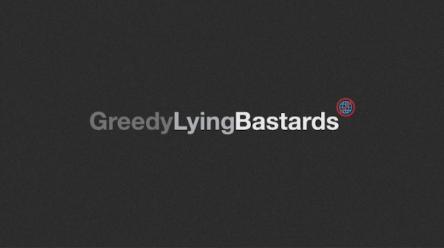 Greedy Lying Bastards title screen